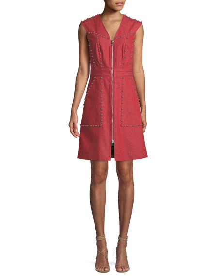 Diane von Furstenberg Zip-Front Studded Sheath Dress
