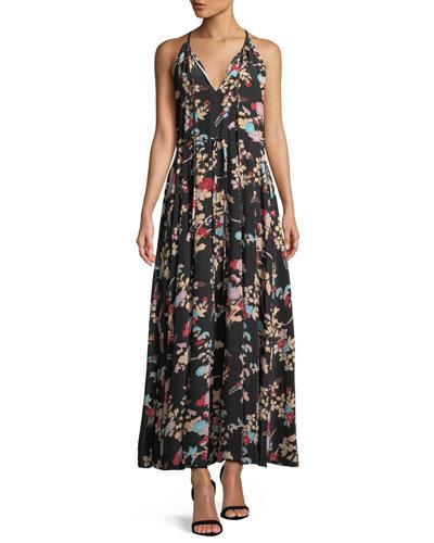 Keyhole Halter Tie-Waist Floral Maxi Dress
