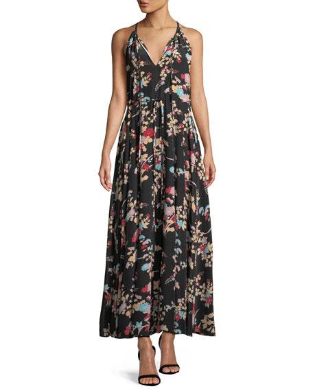 Diane von Furstenberg Keyhole Halter Tie-Waist Floral Maxi
