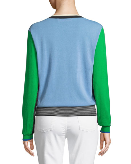 Long-Sleeve V-Neck Colorblock Pullover Sweater