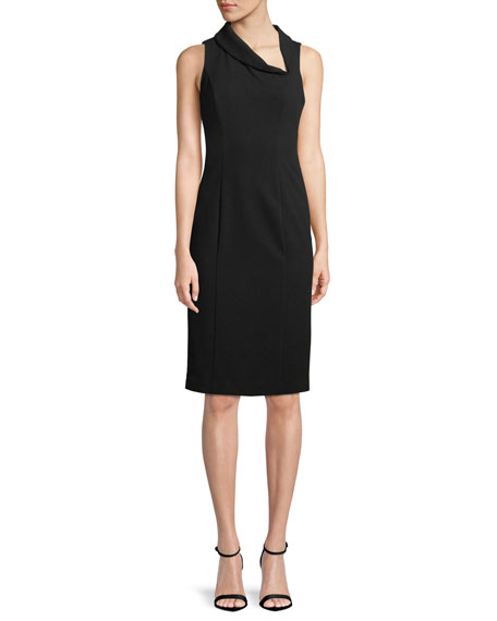 Black Halo Blaze Sleeveless Asymmetric Sheath Dress