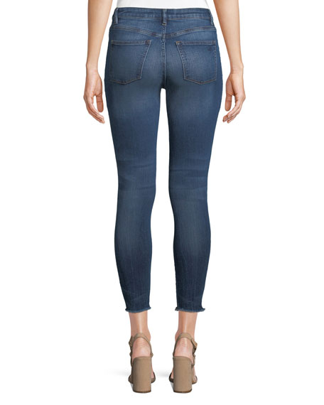 Chrissy High-Rise Skinny-Leg Trimtone Jeans