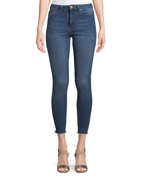 DL1961 Premium Denim Chrissy High-Rise Skinny-Leg Trimtone Jeans