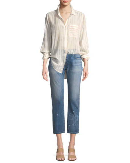 501 Taper Aizome Straight-Leg Cropped Jeans