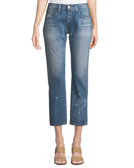 Levi's Premium 501 Taper Aizome Straight-Leg Cropped Jeans