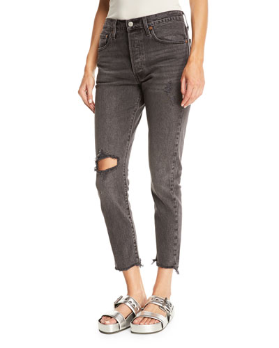 501 Well Worn Skinny-Leg Cropped Jeans