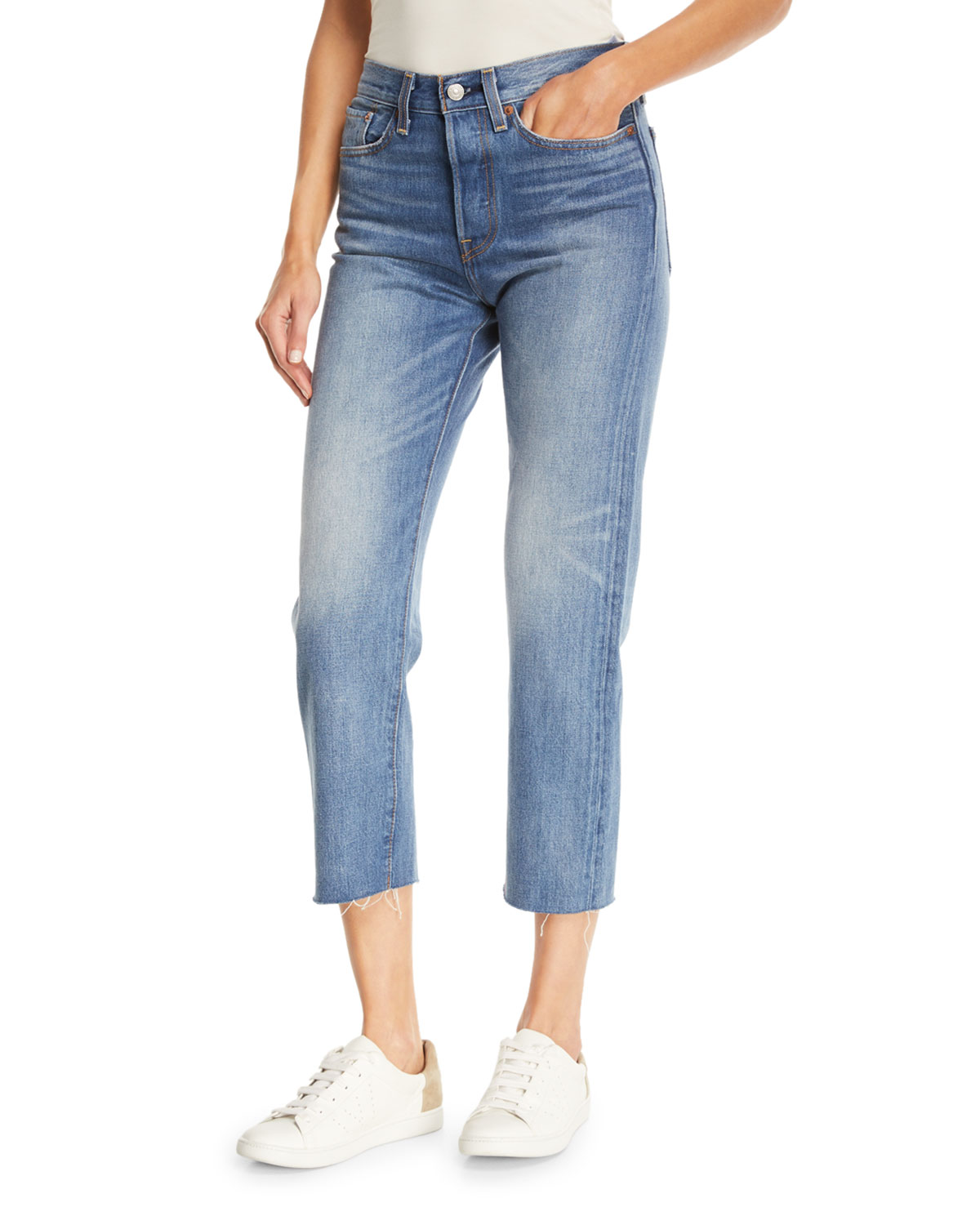 d5888d8d5ba Levi s PremiumPartners in Crime Wedgie-Icon Fit Straight-Leg Jeans w   Raw-Edge Hem