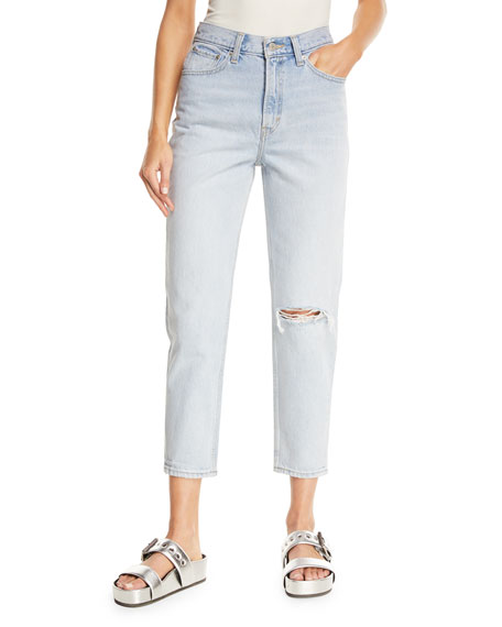 Donna Martin Straight-Leg Cropped Mom Jeans