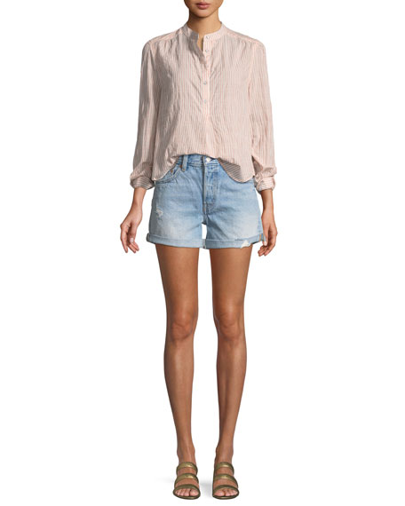 501 North Beach Blues Mid-Rise Denim Shorts