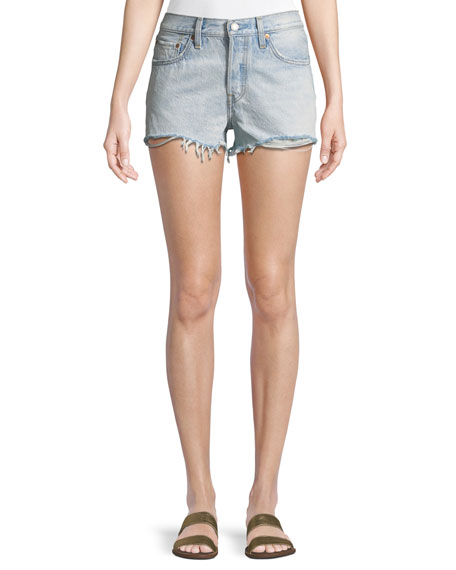 Bleached Authentic Denim Cutoff Shorts