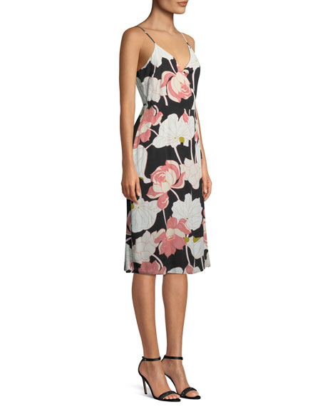 Chayene Floral-Print Sleeveless Wrap Dress