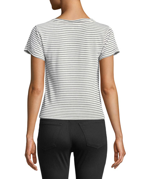 Campton Striped Front-Tie Crewneck Top