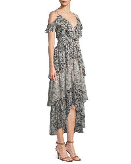 Idalia Floral-Print Ruffle High-Low Dress