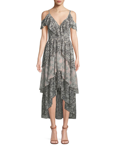 Misa IDALIA FLORAL-PRINT RUFFLE HIGH-LOW DRESS