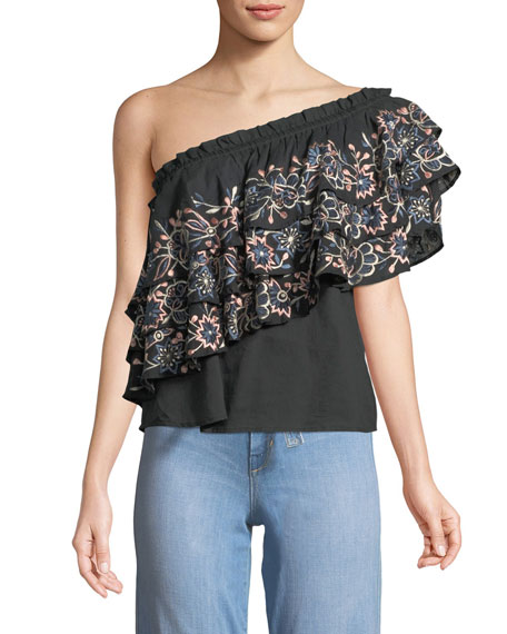 Paola Floral Embroidery One-Shoulder Top
