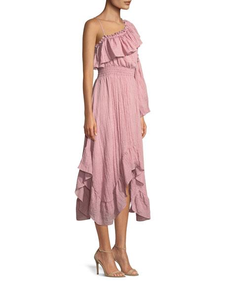 Vola One-Shoulder Ruffle Midi Dress