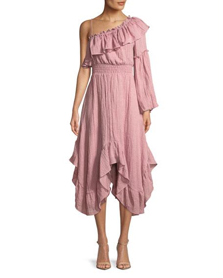 MISA Los Angeles Vola One-Shoulder Ruffle Midi Dress
