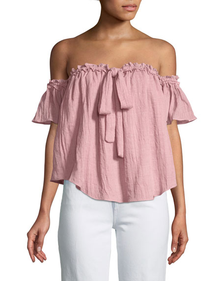 MISA Los Angeles Anouk Short-Sleeve Off-the-Shoulder Top
