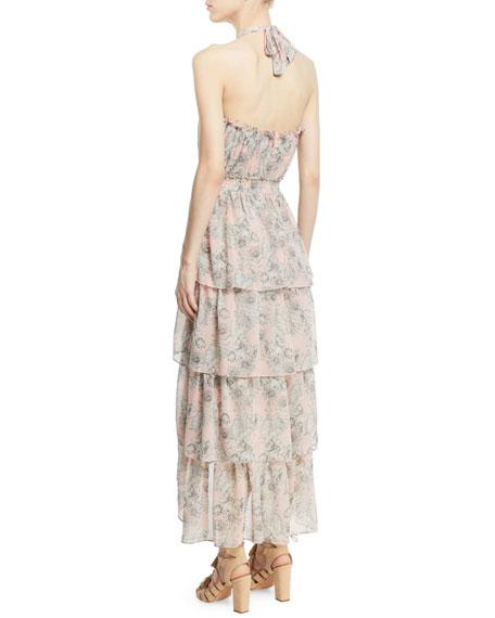 Valeria Halter Floral-Print Maxi Dress