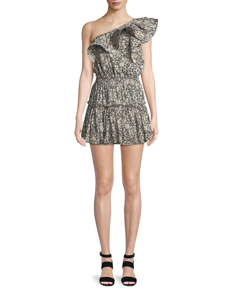 MISA Los Angeles Josefine Printed One-Shoulder Mini Dress