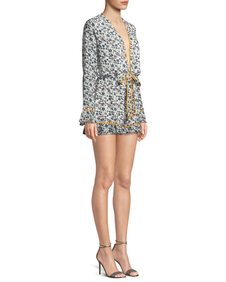Bishop Floral-Print Long-Sleeve Romper