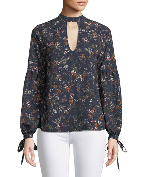 Eli Floral-Print Long-Sleeve Blouse