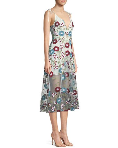 Charlotte Floral Applique Sheer Mesh Midi Dress