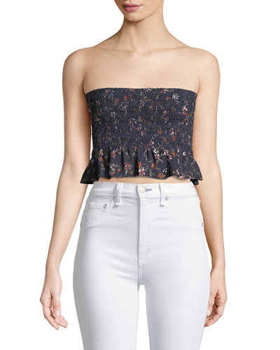 Bobby Smocked Bandeau Crop Top