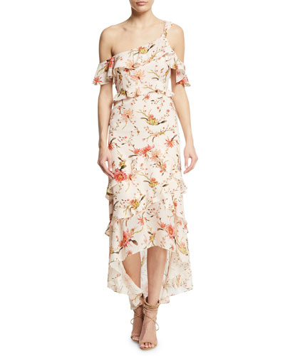 Jillian Silk Floral-Print One-Shoulder Maxi Dress