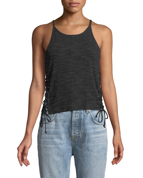 Cupcakes and Cashmere Carlin Lace-Up Tank Top