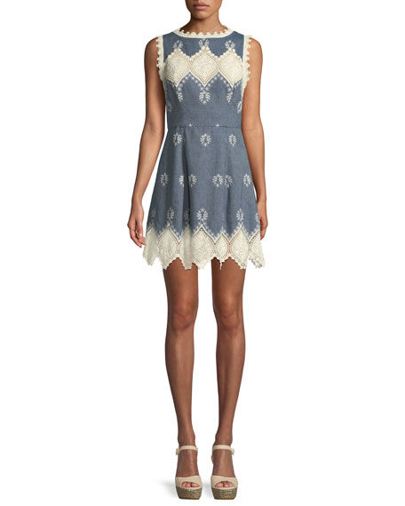 Alice + Olivia Lindsey Structured Embroidered Mini Dress