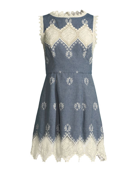 Lindsey Structured Embroidered Mini Dress