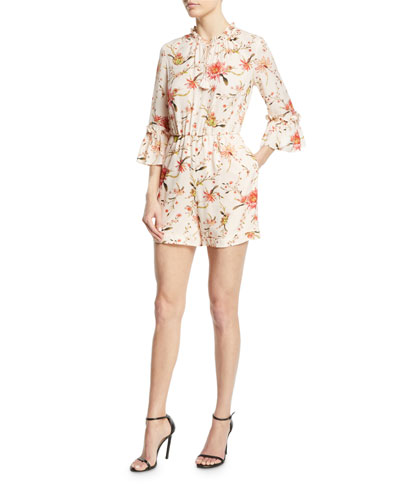 Grace Open-Back Floral Silk Romper