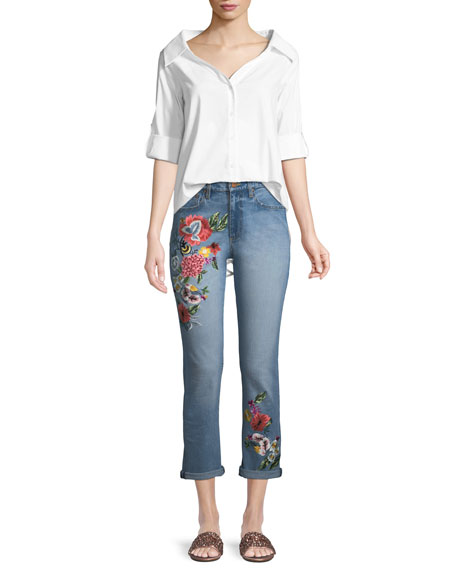 Amazing Floral-Embroidered High-Rise Straight-Leg Jeans