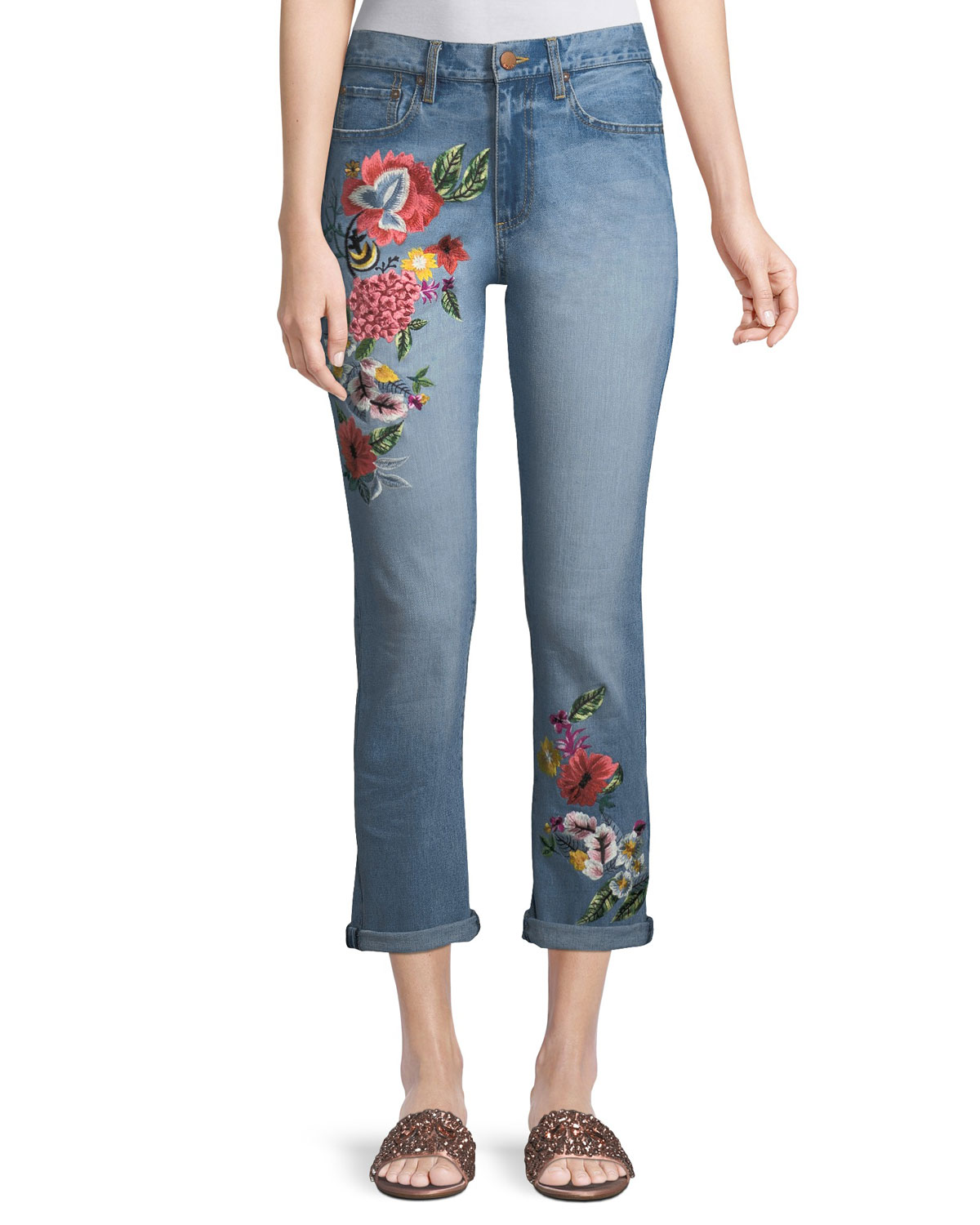 50 Incredible Non Traditional Wedding Dresses Under 500: ALICE + OLIVIA JEANS Amazing Floral-Embroidered High-Rise
