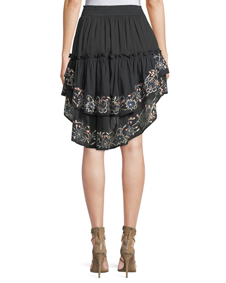 Breanna Embroidered High-Low Skirt