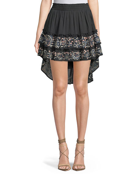 MISA Los Angeles Breanna Embroidered High-Low Skirt