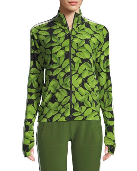 Leaf-Print Side-Stripe Turtle Athletic Jacket