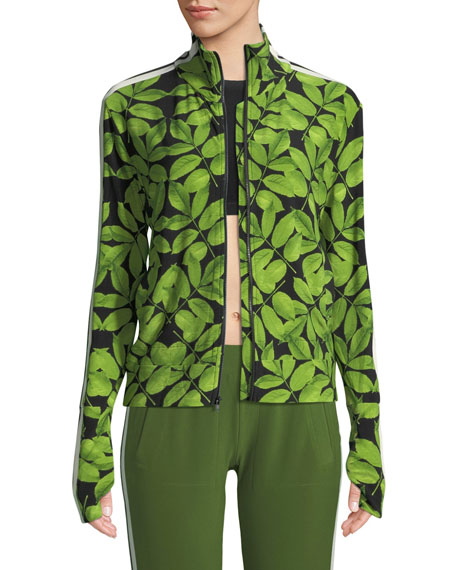 Norma Kamali Leaf-Print Side-Stripe Turtle Athletic Jacket
