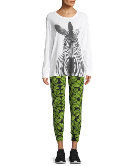 Leaf-Print Side-Stripe Jogger Pants