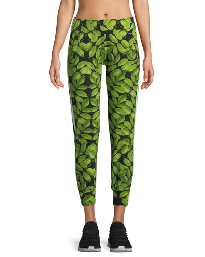 Leaf-Print Side-Stripe Jogger Pants