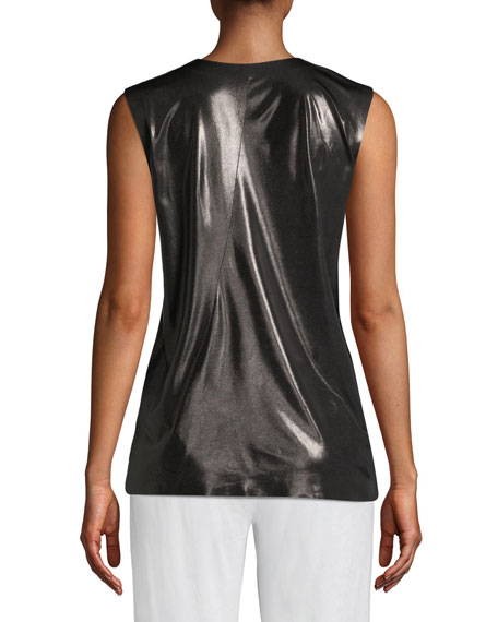 Shiny Sleeveless U-Neck Active Top