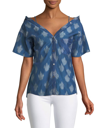 Tamalee Off-the-Shoulder Button-Front Top
