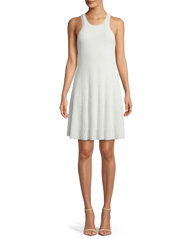 Theory Clean Cotton Ottoman Knit Knee Length Tank Dress