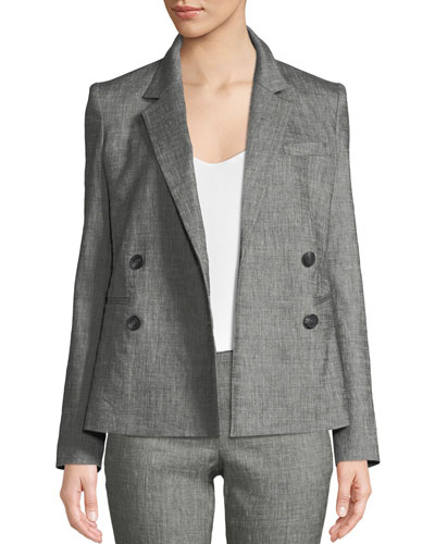 Double-Breasted Sharkskin Two-Button Blazer