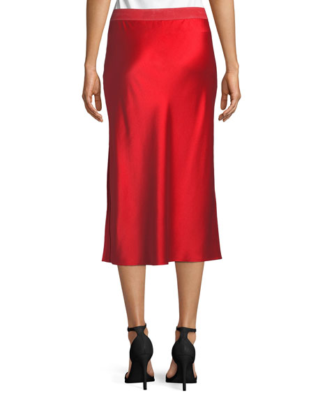 Pull-On Silk Slip Midi Skirt