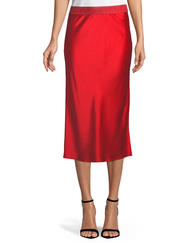 e37e1f194206 Theory Pull-On Silk Slip Midi Skirt | Neiman Marcus