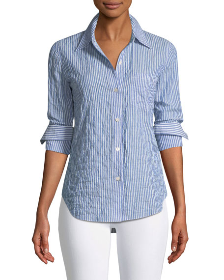 Classic Striped Button-Front Top