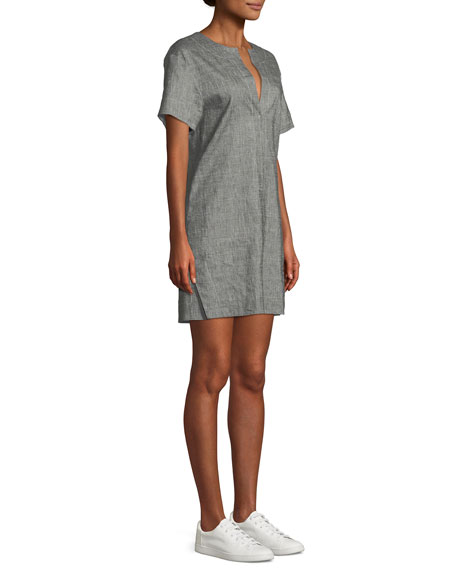 Sharkskin Short-Sleeve Shift Dress