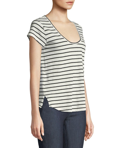 Navigate Easy Striped Scoop-Neck Tee